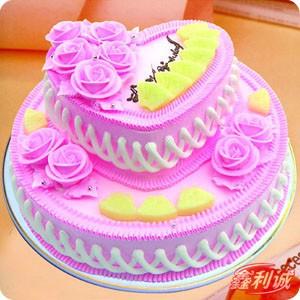 生日鲜花蛋糕-2层鲜奶蛋糕