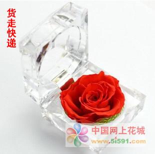 网上订花-戒指盒保鲜花-红玫瑰