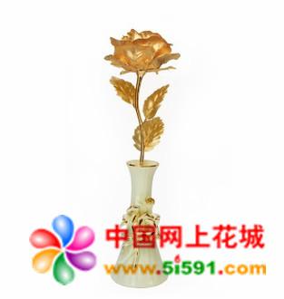 鲜花网-大号全开金箔玫瑰 浪漫爱情
