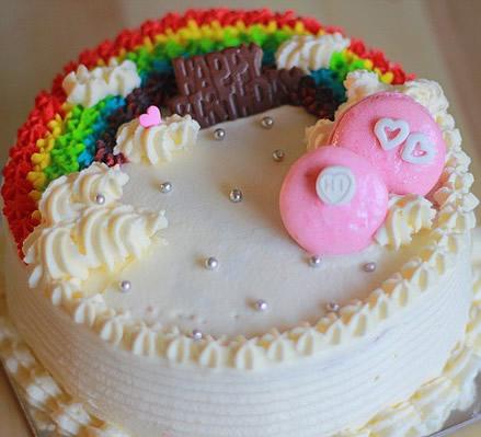 生日鲜花蛋糕-奶油彩虹