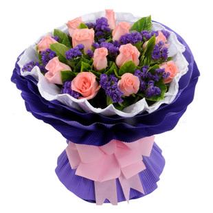鲜花定购-粉玫瑰-就是爱你