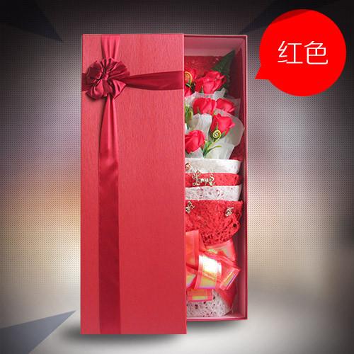 鲜花礼品店-香皂花礼盒单红色