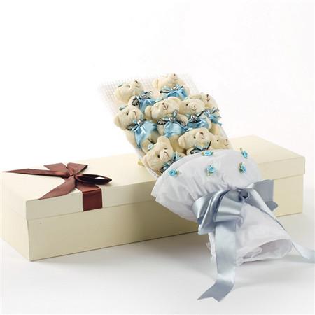 鲜花礼品店-蓝色小熊花束9支礼盒