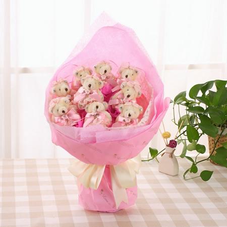 预订鲜花-蕾丝熊粉色  粉色小可爱