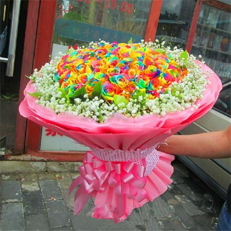 订花服务-彩虹玫瑰-美丽相约