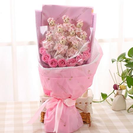 鲜花速递网-爱枚之心-粉色