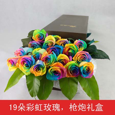彩色玫瑰-彩虹玫瑰-19支装