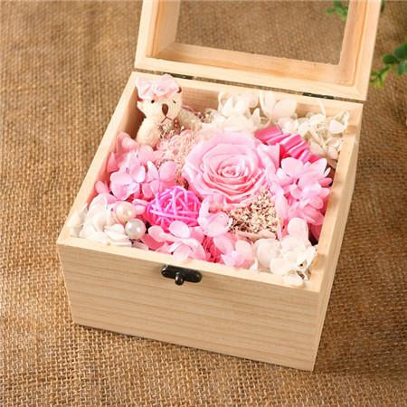 网络订花-保鲜花 粉色 1花+1熊