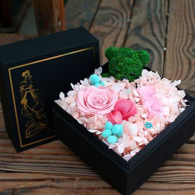鲜花公司-永生花 3朵粉玫瑰