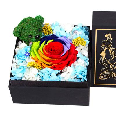 鲜花购买-永生花 彩虹玫瑰