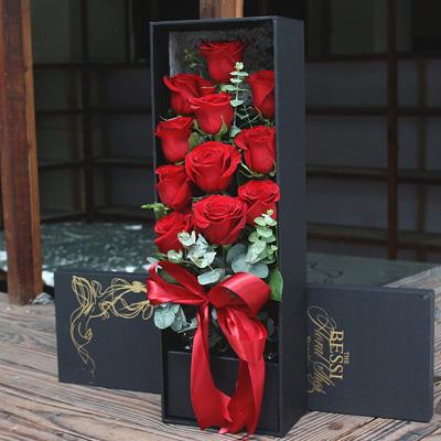 彩虹玫瑰-进口花-红色自由女神11支