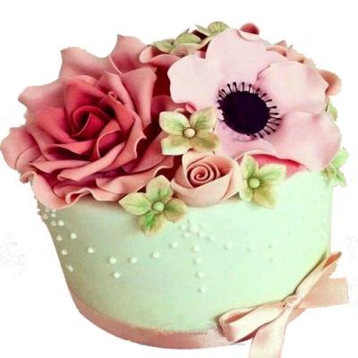 生日鲜花蛋糕-翻糖蛋糕 欲燃炽情