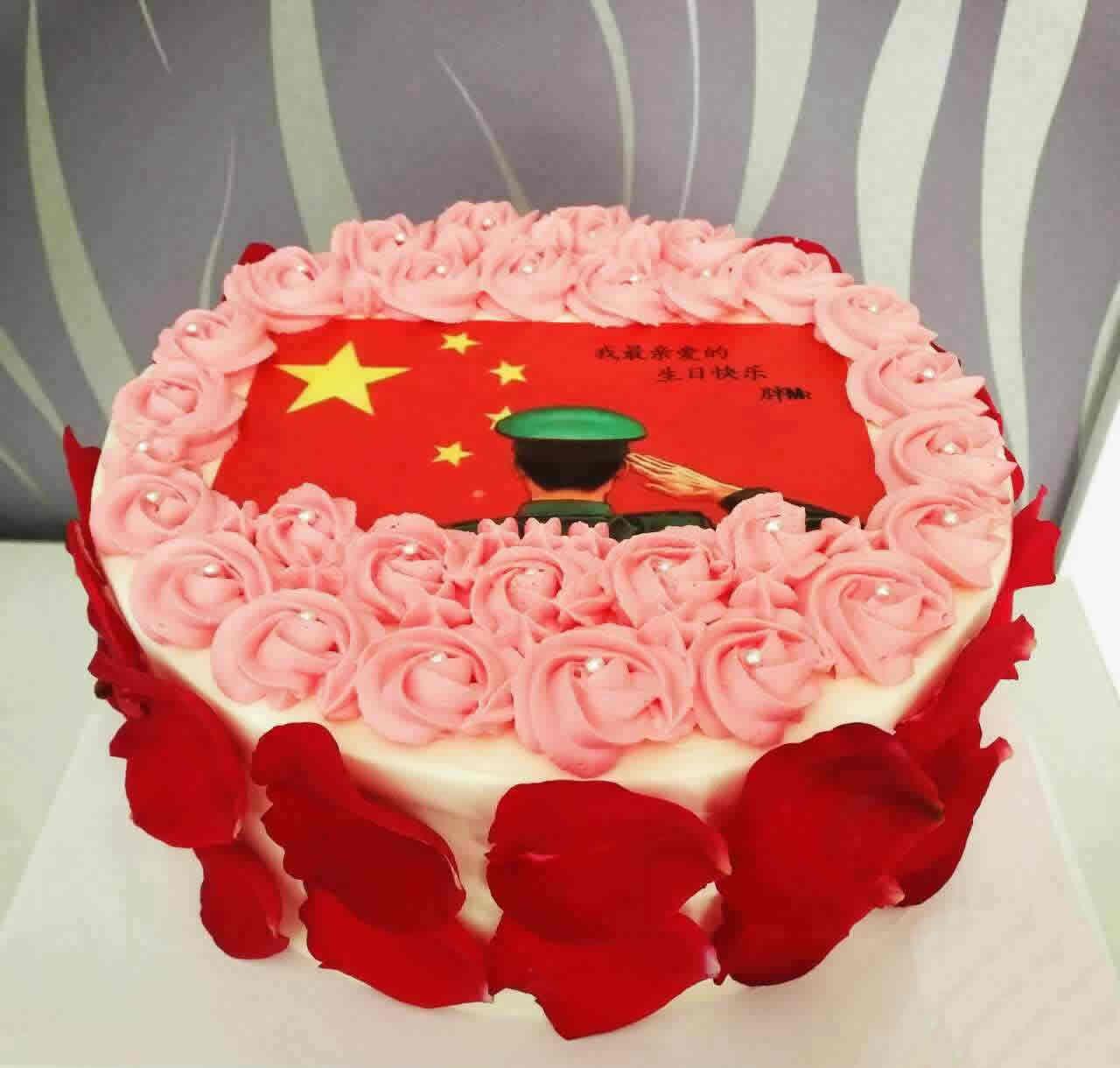 鲜花蛋糕-红旗飘飘