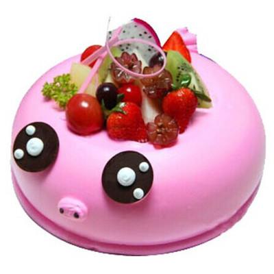 鲜花蛋糕-萌萌猪