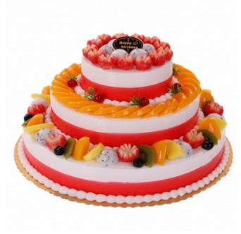 生日鲜花蛋糕-三层水果蛋糕