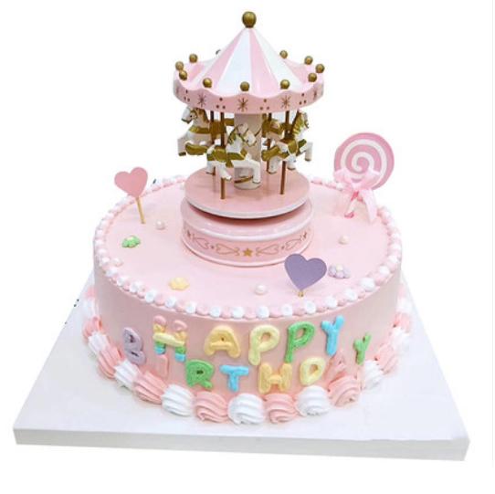 蛋糕鲜花-网红旋转木马A款