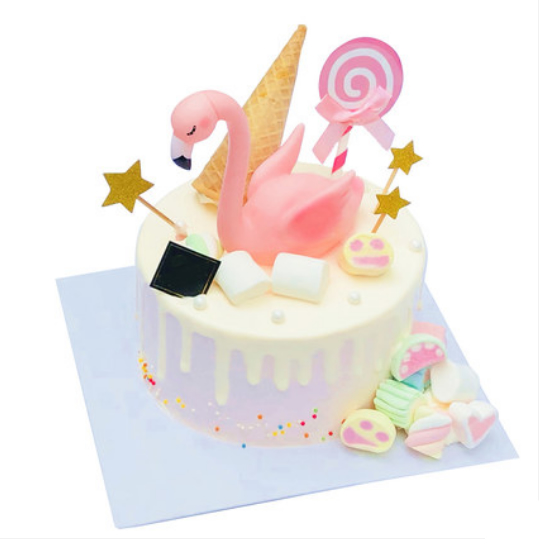 鲜花蛋糕套餐-网红火烈鸟蛋糕A款