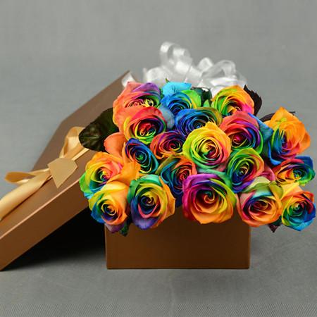 延吉永生花:彩虹玫瑰-爱情的颜色
