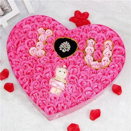 鼓楼肥皂花:100朵浪漫IU小熊戒指粉色