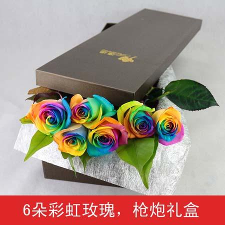 延吉永生花:彩虹玫瑰-6支装