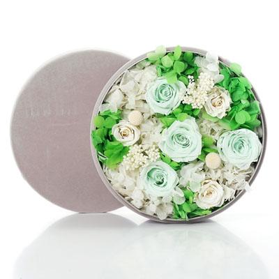 玉林永生花:圆形绒布礼盒 绿色