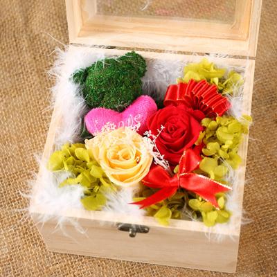 玉林永生花:保鲜花 苔藓小熊玫瑰