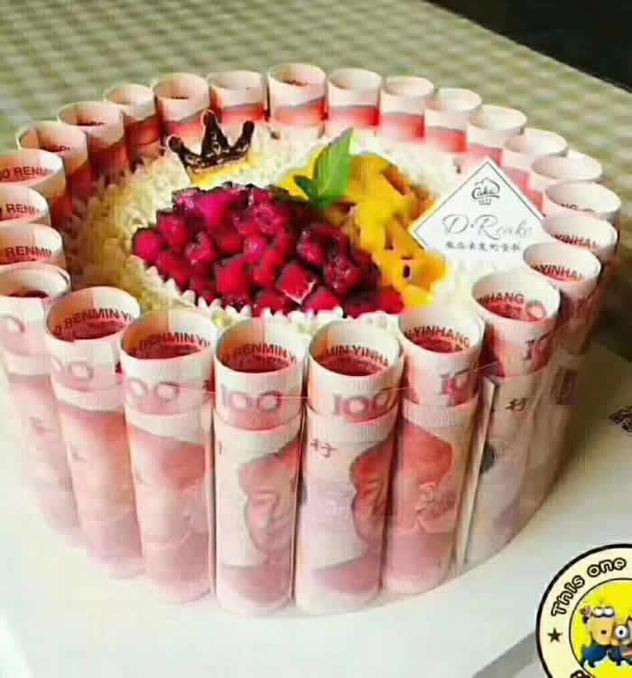 人民币蛋糕-财源滚滚